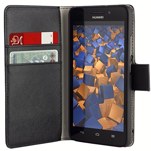mumbi Tasche Bookstyle Hülle kompatibel mit Huawei Ascend G620s Hülle Handytasche Hülle Wallet, schwarz