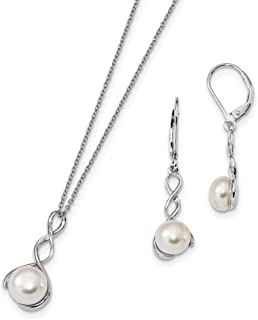 Sterling Silver Rh 8-9mm White Freshwater Cultured Pearl Earrings Necklace Set