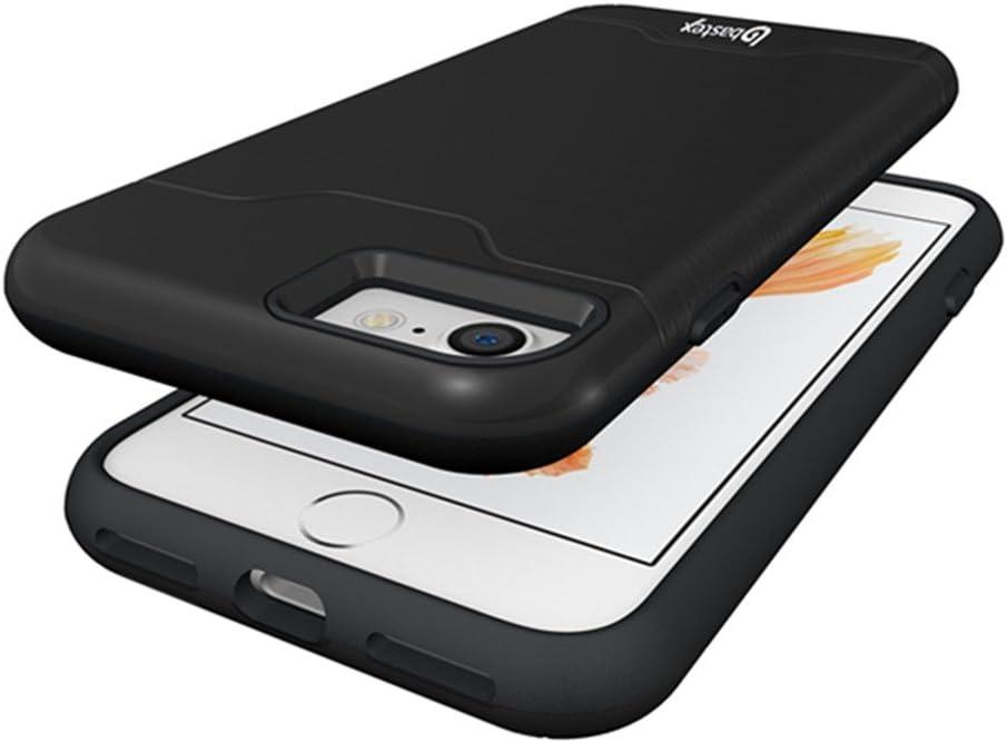 iPhone 7 Case, Bastex Hybrid Slim Fit Black Rubber Silicone Cover Hard Plastic Black Brushed Metal Design Kickstand Case with Hidden Credit Card Slot for Apple iPhone 7