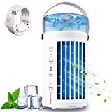 Portable Air Conditioner Fan Personal Air Cooler Desk Cooling Fan Quiet Humidifier Misting Fan with 7 Colors Night Light 3 Speeds Mini Evaporative Cooler for Home Office Car Bedroom