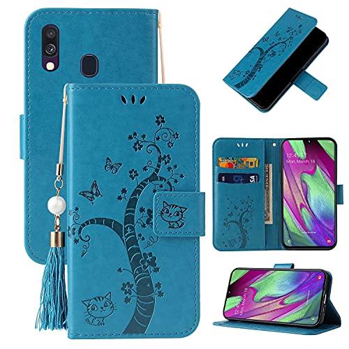 SZCINSEN - Custodia a portafoglio per Samsung Galaxy A20E, in pelle PU, funzione di supporto, con tasca per carte di credito e carte di credito