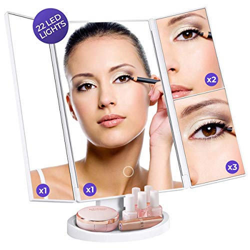 LED High-Definition Makeup Mirror - Trifold Vanity Lights for Dresser, Bathroom - Lighted Glass for Cosmetics - Portable Tall Beauty Stand with 90° Swivel - Bright and Adjustable Magnification