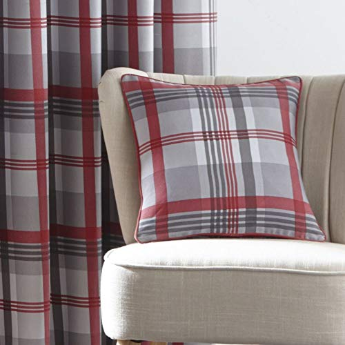 Portfolio Orleans Check Tartan Filled Cushion Cover Case - Red 17' x 17'