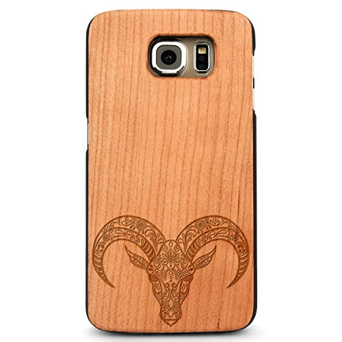 Laser Engraved Wood Case for Apple iPhone Samsung Galaxy Spiritual Animal Floral Death Skull Goat Ox for Galaxy S6 Edge Cherry Case