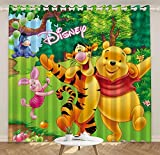 lubenwei Anime Blackout Curtains Piglet Tigger Winnie The Pooh Thermal Insulated Darkening Window Drapes for Bedroom 200(H) x130(W) Cmx2 Panels/Set (B-2238)