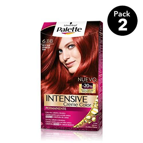 Palette Intense - Tono 6.88 Rojo Rubí - 2 uds - Coloración Permanente -...