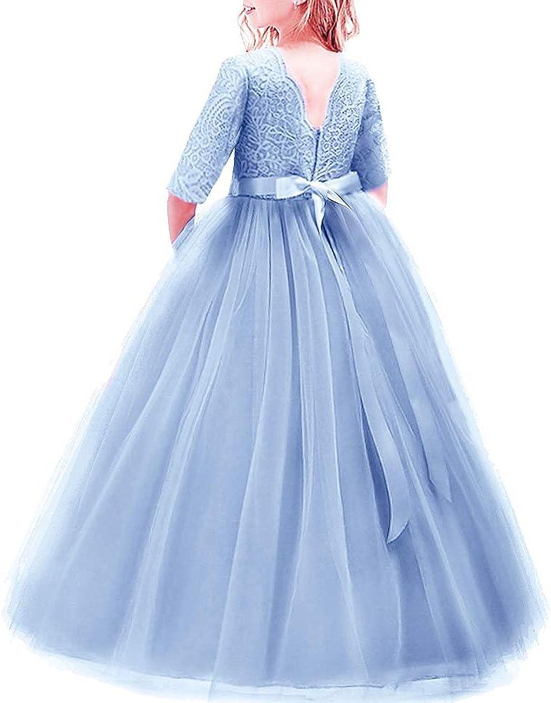 Flower 美品 Girls 3 4 Sleeve Deep V-Back Tulle Lace Wedding お歳暮 P Vintage