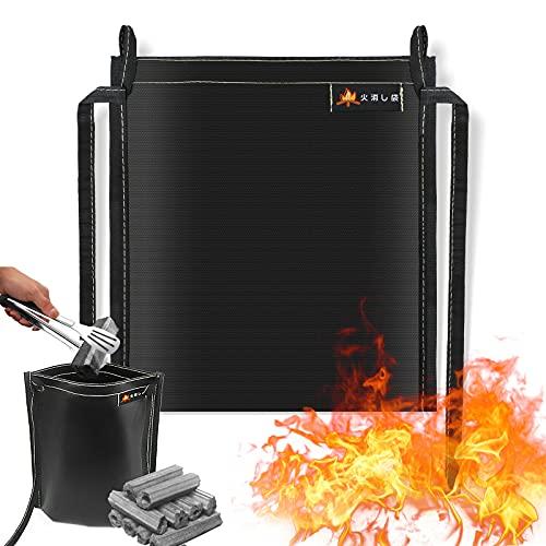 Eletorot 火消し袋 キャンプ バーベキュー 炭 ひおこし器 炭処理袋 再利用可能 耐熱性 難燃性 29*32cm
