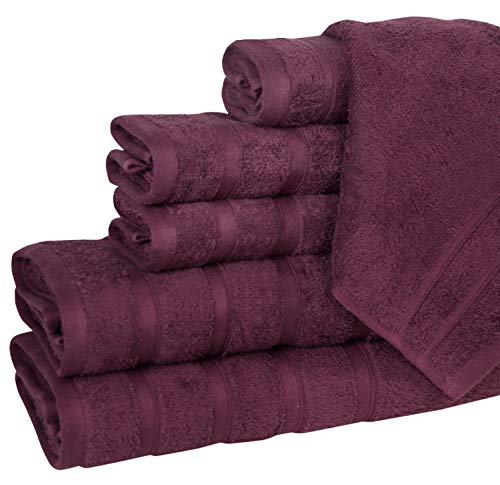 Eono By Amazon - 600 GSM 100% Combed Cotton 2 Bath Towels 70x140, 4 Hand Towels 40x70 CM - Highly Absorbent & Ultra Soft 6 Pack - Perfect for Hotel Spa & Daily Use - Plum