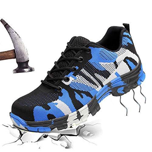 TongCart Camuflaje Zapatos De Seguridad para Hombre Botas Militares De Acero Zapatos De Punta Zapatos De Botas De Trabajo Transpirables Punción Prueba Botas De Construcción