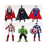 KSB-toy Marvel Set de Figuras de Acción, 6 unids Superhéroe Avengers Iron Man Hulk Capitán América Superman Batman Figuras de Acción de Regalo Juguetes para niños Decoración