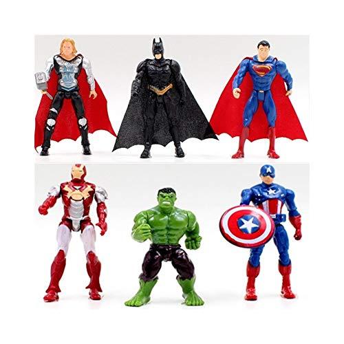 Final Fantasy Marvel Set de Figuras de Acción, 6 unids Superhéroe Avengers Iron Man Hulk Capitán América Superman Batman Figuras de Acción de Regalo Juguetes para niños
