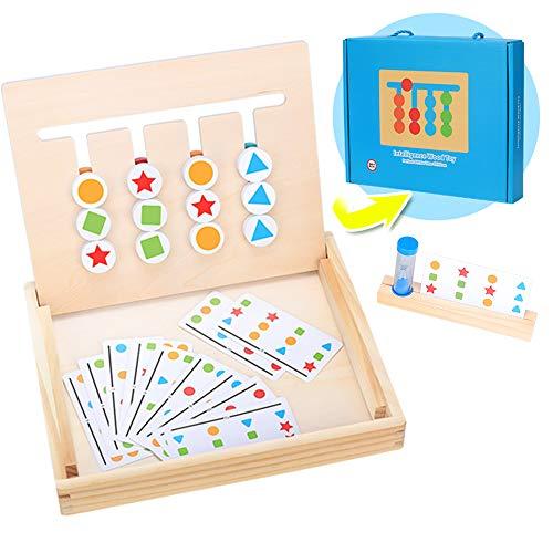 Juguetes Montessori para Niños, Tablero Juego de Madera Juguetes de Clasificación de Forma de Color Puzzles Infantiles con Tarjetas de Patrón, Reloj de Arena Rompecabezas Madera para Bebe 3 4 5 Años