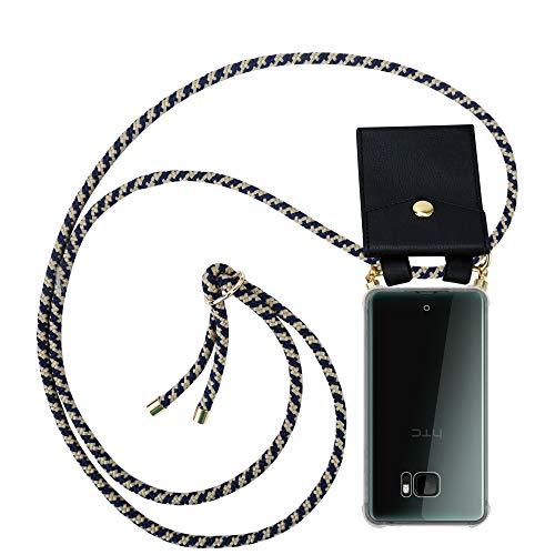 Cadorabo Funda con Cuerda para HTC U Ultra en Azul Oscuro Amarillo – Cubierta Protección Collar para Colgar di TPU Silicona Transparente con Anillos OROS, Cordon y Estuche Removible