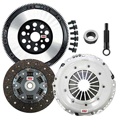 ClutchMaxPRO Performance Stage 2 Clutch Kit & Chromoly Flywheel Compatible with 1997-2005 Audi A4 1.8T B5 B6, VW Passat 1.8T 5-speed (CP02027HDLSF-ST2)