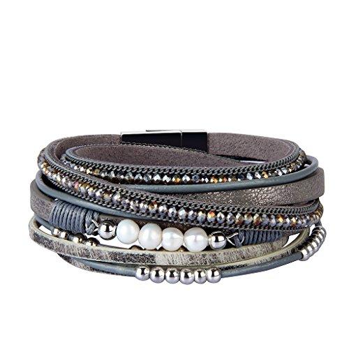 AZORA Womens Leather Wrap Bracelet Handmade Stacking Cuff Bracelets for Women Girls Gift