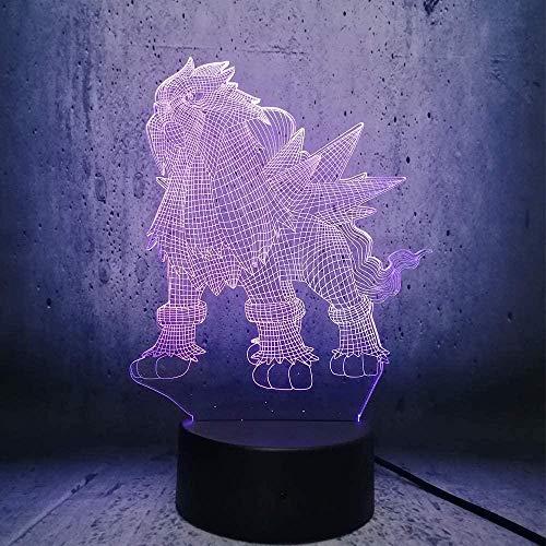 Lámpara de ilusión Cambio de color LED Luz 3D Animal creativo Elfo Control remoto Niños Toboganes de noche Regalo de Navidad