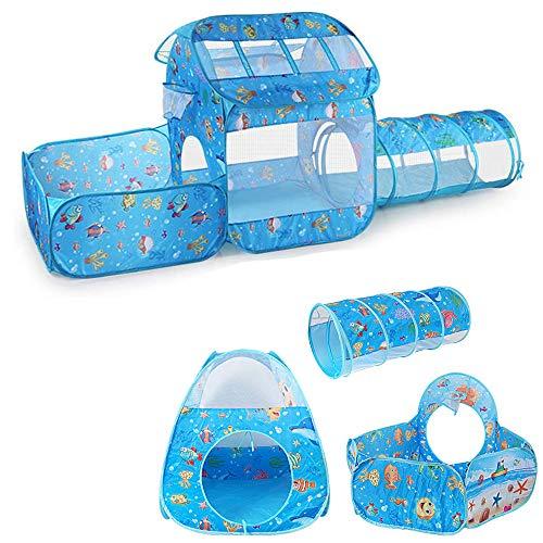 LMBASKET Spielzelt mit Tunnel für Kinder, Drinnen Kinderzelt mit Krabbel Tunnel und Bällebad Faltbar Pop Up Spielhaus Zelte für Mädchen Junge Kinder