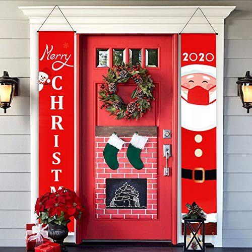 Christmas Porch Sign Banner, Red Xmas Porch Sign with Santa, Indoor Outdoor Christmas Porch Decorations Banner, Merry Christmas Door Banner Hanging for Home, Wall, Door (12''x71'')