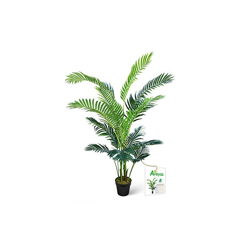 silk flower arrangements aveyas 5ft artificial kentia areca palm silk tree in plastic nursery pot, fake tropical plant for office house living room home decor (indoor/outdoor)
