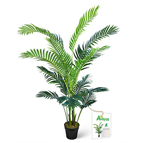 Aveyas 5ft Artificial Kentia Areca Palm Silk Tree in Plastic Nursery Pot, Fake Tropical Plant for Office House Living Room Home Decor (Indoor/Outdoor)