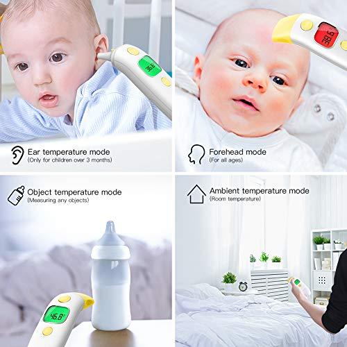 CocoBear - Termometro digitale per bambini, termometro a infrarossi, fronte e orecchio, 4 in 1, termometro a infrarossi professionale, certificato medico