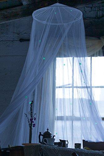Loonju Glowing dôme Moustiquaire ciel de lit avec étoiles pour enfants jouant la lecture Chambre à coucher Décor (Noir)