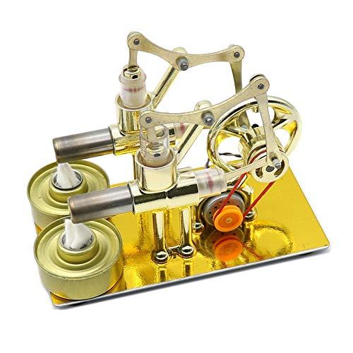 Modelo Del Motor Del Motor Cilindros Doble Aire caliente Stirling Motor Modelo Generador Motor Steam Power Toy Learning Modelo Juguetes Para Niños Adulto ( Color : Gold , Size : One size )