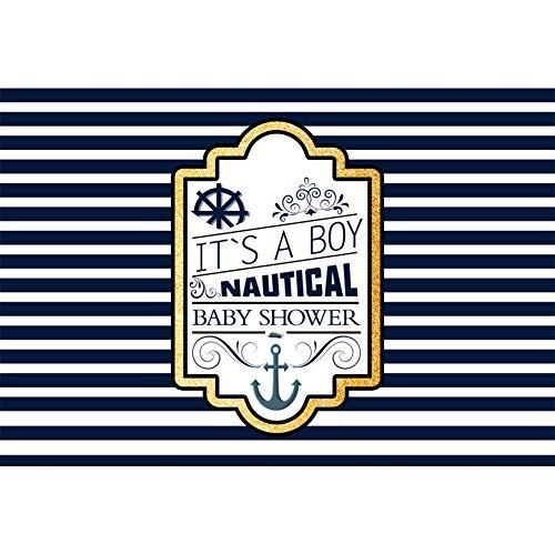 Baocicco 8x6.5ft It's a Boy Nautical Baby Shower Backdrops for Photography Backgrounds Navigation Backdrops Blue and White Stripes Anchor Steer The Ship Boy Prince Captain Photo Studio Video Props