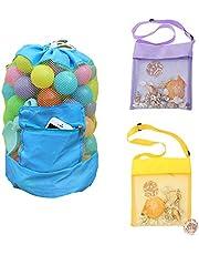 EQLEF Mesh strandtas voor kinderen, trekkoord rugzak mesh shell tassen voor spelen en handdoeken in zwemmen zwembad zomer vakantie (Pack van 3)