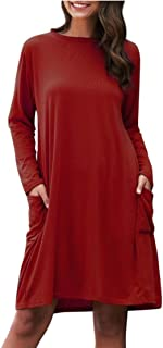 فستان جديد عصري صيفي 2020 للنساء طويل الاكمام بمقاس فضفاض ولون واحد وجيب لاوقات الترفيه