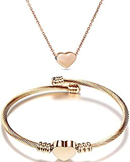 NIBASTAR Free Engraved Heart Jewelry Set Stainless Steel Necklace Bracelet for Women Girls (Rose gold)