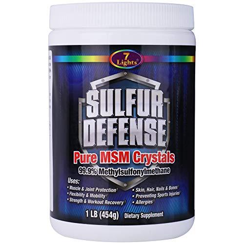 7 Lights Sulfur Defense MSM Powder, Pure 99.9% Methylsulfonylmethane Crystals, 1 Pound