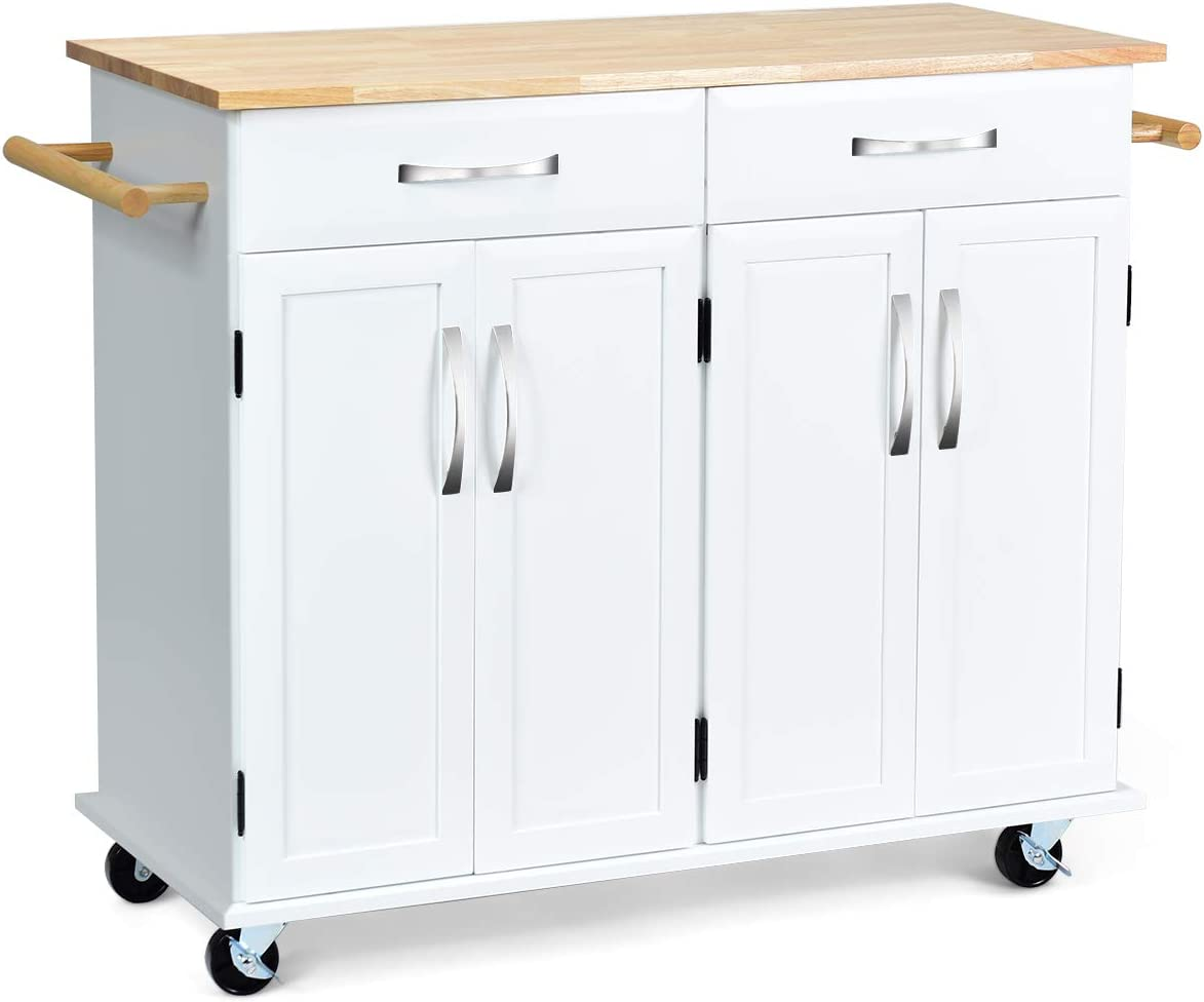 Giantex Kitchen Trolley Cart Rolling Rubber Max 79% Cheap mail order specialty store OFF w Island Utility Wo