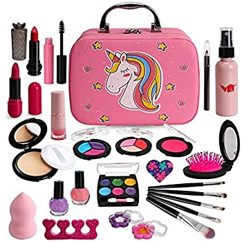 Flybay Kids Makeup Kit for Girls Real Makeup Set Washable Makeup Kit Toys for Little Girls Child Pretend Play Makeup for 4 5 6 7 Years Old Birthday Gifts Toys.