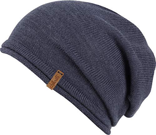 FEINZWIRN Leicester blau Mütze mit 50% Merinowolle - Slouch (blau)