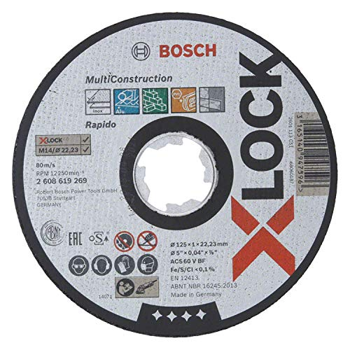 Bosch Professional gerade Trennscheibe (für MultiMaterial, X-LOCK, Ø125 mm, BohrungsØ: 22,23 mm, Dicke:1 mm)