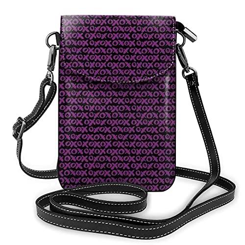 Bolso cruzado pequeño para teléfono celular, con cepillo de pelo y letras de mano torcida retro XOXO signos repetir patrón