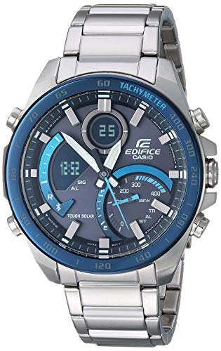 Casio Men's Edifice Quartz Watch with Stainless-Steel Strap, Silver, 21.6 (Model: ECB-900DB-1BCF)