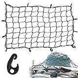 カーゴネット 90*120cm 車用トランクネット 2倍伸縮 荷物固定 伸縮性 ラゲージネット 強力12固定フック 天井ルーフネット 荷崩れ防止 キャリア用ネット
