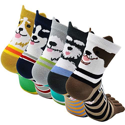 PUTUO Mujer cinco calcetines de los dedos, Algodón Calcetines de Animales Lindos para Mujer Calcetines de Divertidos Ocasionales, 4/5 pares (Multicolor 4-5 pares)