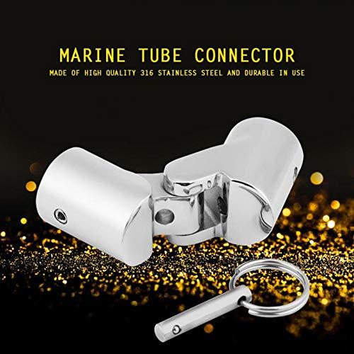 Conector de tubo marino duradero plateado, conector de tubo de barco, conector de tubo marino, para toldos plegables Bimini Tops mástiles de postes de bandera(22mm caliber)
