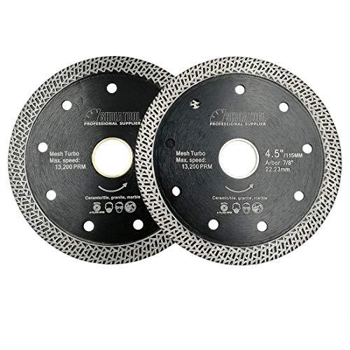 SHDIATOOL Diamant Trennscheibe 2 Stücke 115MM mit Mesh Turbo Rim Segment Schneiden Fliesen Keramik Granit Marmor