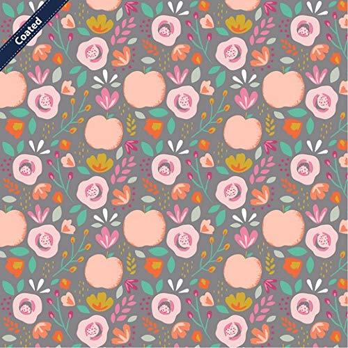 Schickliesel beschichtete Baumwolle Meterware Äpfel und Blüten (grau)