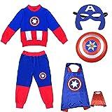 YICHUAN Disfraz De Capitán América para Niños Disfraz De Cosplay para Niños Conjuntos De Ropa De Disfraces De Halloween,Captain America-120