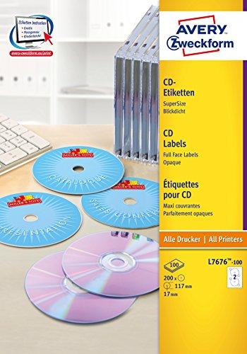 AVERY Zweckform L7676-100 selbstklebende CD-Etiketten (blickdichte CD-Aufkleber, Ø 117 mm SuperSize, 200 bedruckbare Klebeetiketten auf 100 Blatt, für alle A4-Drucker) weiß