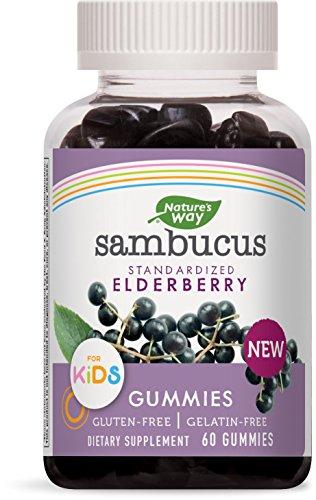 Nature's Way Sambucus Elderberry Gummies for Kids, Herbal Supplements with Vitamin C and Zinc, Gluten Free, Vegetarian, 60 Count