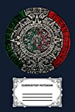 Aztec Calendar Sun Stone Mexican Art Carving Maya Mayans TE Notebook: 120 Wide Lined Pages - 6