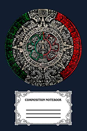 Aztec Calendar Sun Stone Mexican Art Carving Maya Mayans TE Notebook: 120 Wide Lined Pages - 6' x 9' - College Ruled Journal Book, Planner, Diary for Women, Men, Teens, and Children