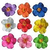 Lurrose 9 unids flor de hibisco pinza de pelo simulación floral hawaiana accesorios para el cabello para el festival de boda